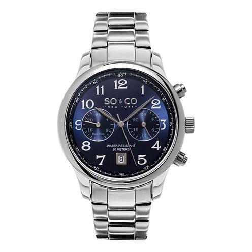 SO & CO NY Mens Monticello Stainless Steel Bracelet Blue Dial Dress Quartz Dual Time Watch J154P55