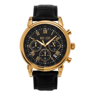 jcpenney.com | SO & CO NY Mens Gold-Tone Monticello Leather Dress Quartz Watch J154P84