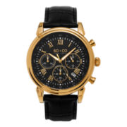 SO & CO NY Mens Gold-Tone Monticello Leather Dress Quartz Watch J154P84