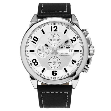 jcpenney.com | SO & CO NY Mens Chronograph Monticello Leather Strap With White Contrast Stitching Sport Quartz Watch J159P40
