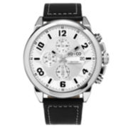 SO & CO NY Mens Chronograph Monticello Leather Strap With White Contrast Stitching Sport Quartz Watch J159P40