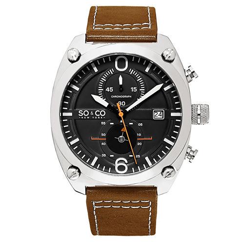 SO & CO Ny Men'S Monticello Leather Sport Quartz Watch J161P13