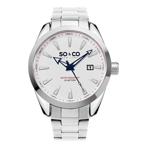 SO & CO Ny Men'S Madison Stainless Steel Bracelet Dress Quartz Date Watch J154P16