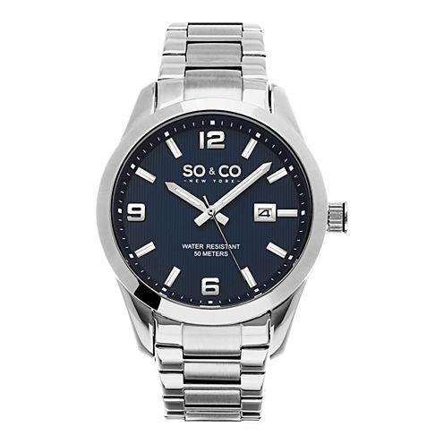 SO & CO Ny Men's Madison Stainless Steel Bracelet Blue Dial Dress Quartz Watch J154P66