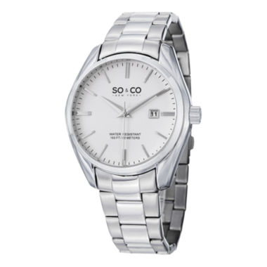 jcpenney.com | SO & CO Ny Men's Madison Silver Stainless Steel Bracelet Dress Quartz Watch J150P76