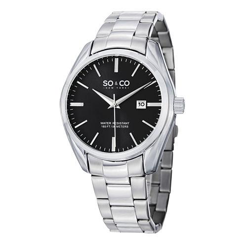 SO & CO Ny Men's Madison Black Dial Stainless Steel Bracelet Dress Quartz Date Watch J150P77