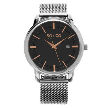 jcpenney.com | SO & CO NY Mens Madison Stainless Steel Bracelet Rose-Tone Accented Dial Dress Quartz Watch J159P31