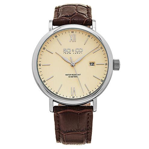 SO & CO NY Mens Madison Date Leather Strap Dress Quartz Watch J160P95