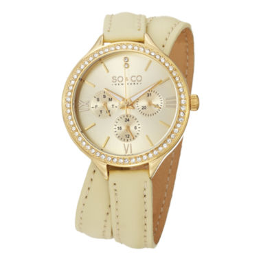 jcpenney.com | SO & CO NY Womens Madison Champagne Double Wrap Genuine Leather Strap Gold-Tone Quartz Watch J152P09
