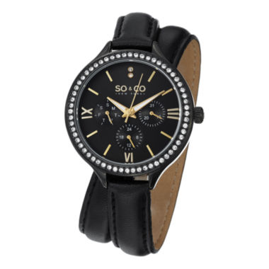 jcpenney.com | SO & CO NY Womens Madison Black Double Wrap Genuine Leather Strap Quartz Watch J152P10