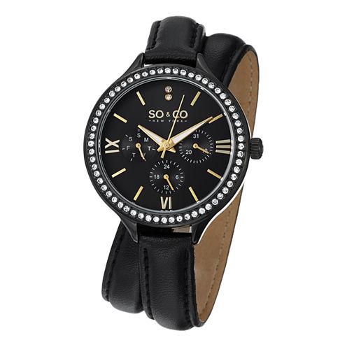 SO & CO NY Womens Madison Black Double Wrap Genuine Leather Strap Quartz Watch J152P10