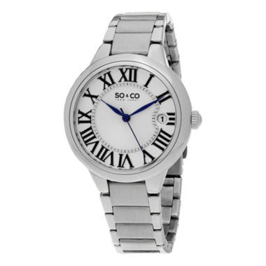 jcpenney.com | SO & CO NY Womens Madison Stainless Steel Polished Bracelet Dress Quartz Watch J154P68