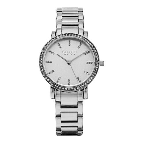 SO & CO Ny Women'S Madison Stainless Steel Bracelet Crystal Filled Bezel Dress Quartz Watch J155P28