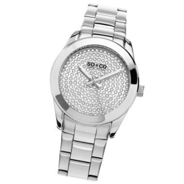 jcpenney.com | SO & CO Ny Women'S Madison Stainless Steel Bracelet Silver Tone Crystal Filled Dial Dress Quartz Watch J155P47