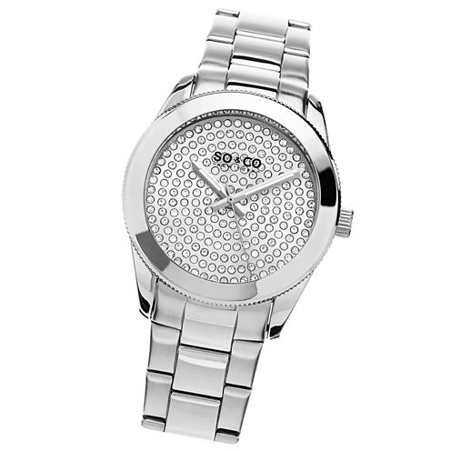SO & CO Ny Women'S Madison Stainless Steel Bracelet Silver Tone Crystal Filled Dial Dress Quartz Watch J155P47