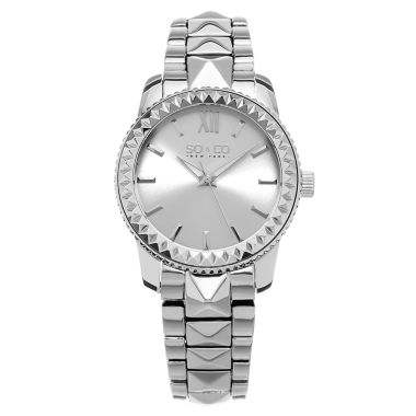jcpenney.com | SO & CO NY Womens Madison Stainless Steel Bracelet Dress Pyramid Design Quartz Watch J155P58
