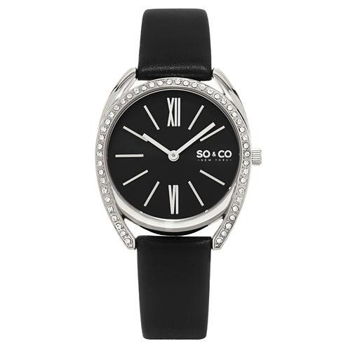 SO & CO NY Womens Madison Leather Dress Quartz Watch J158P94