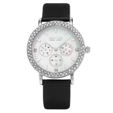 jcpenney.com | SO & CO NY Womens Madison Leather Casual Mother Of Pearl & Crystal Day And Date Quartz Watch J159P60