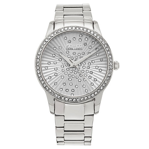 SO & CO Ny Women'S Madison Silver Tone Stainless Steel Bracelet Dress Quartz Crystal Scattered Dial Watch J160P20