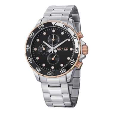 jcpenney.com | SO & CO Ny Men'S Yacht Club Stainless Steel Bracelet With Unidirectional Ratcheting Bezel Sport Quartz Watch J150P58