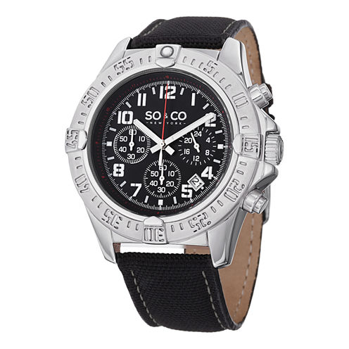 SO & CO Ny Men'S Yacht Club Leather Sport Quartz Watch J151P53