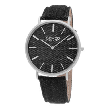 jcpenney.com | SO & CO NY Unisex Soho Denim Covered Leather Casual Ultra Slim Quartz Watch J154P32