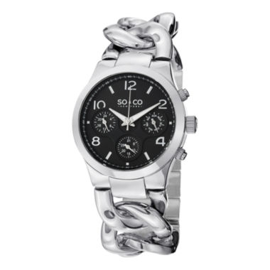 jcpenney.com | SO & CO NY Womens Soho Stainless Steel Chain Bracelet Casual Quartz Watch J151P21