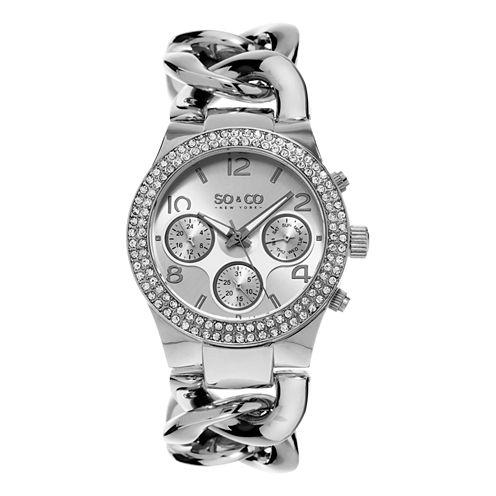 SO & CO NY Womens Soho Stainless Steel Bracelet Crystal Studded Bezel Dress Quartz Watch J155P12