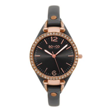 jcpenney.com | SO & CO NY Womens Soho Leather Casual Quartz Gold Tone Watch J155P31
