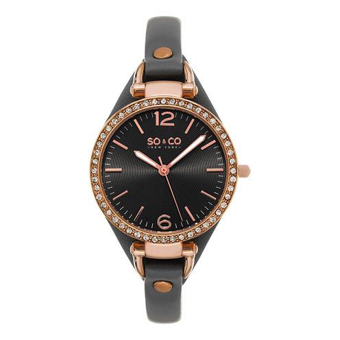 SO & CO NY Womens Soho Leather Casual Quartz Gold Tone Watch J155P31