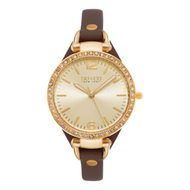 jcpenney.com | SO & CO NY Womens Soho Ultra Thin Genuine Leather Strap With Gold-Tone Dial & Crystal Filled Bezel Quartz Watch J155P32
