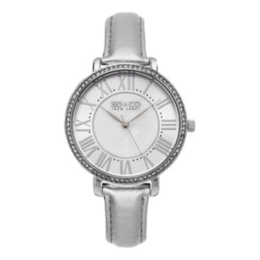 jcpenney.com | SO & CO Ny Women's Soho Leather Strap White Mother Of Pearl Center Dial With Silver Tone Outer Dial Dress Quartz Watch J155P70