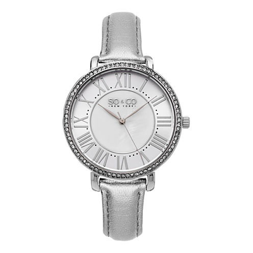 SO & CO Ny Women's Soho Leather Strap White Mother Of Pearl Center Dial With Silver Tone Outer Dial Dress Quartz Watch J155P70