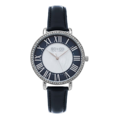 jcpenney.com | SO & CO Ny Women's Soho Navy Leather Strap White Mother Of Pearl Center Dial With Navy Tone Outer Dial Dress Quartz Watch J155P71