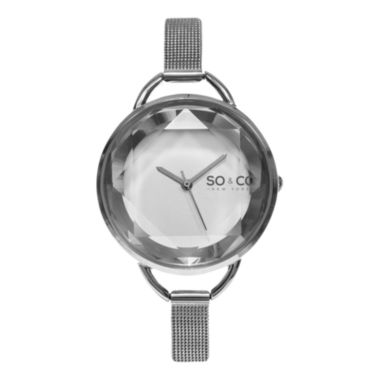 jcpenney.com | SO & CO Ny Women's Soho Stainless Steel Bracelet, Silver Tone Dial With Faceted Glass Dress Quartz Watch J157P90