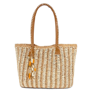 jcpenney.com | Straw Studios Striped Straw Tote