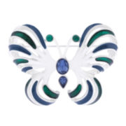 Liz Claiborne® Blue Silver-Tone Butterfly Pin