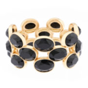 Monet® Black Stone Gold-Tone Stretch Bracelet