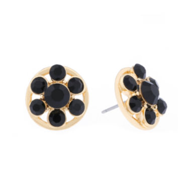 jcpenney.com | Monet® Black Stone Gold-Tone Button Earrings