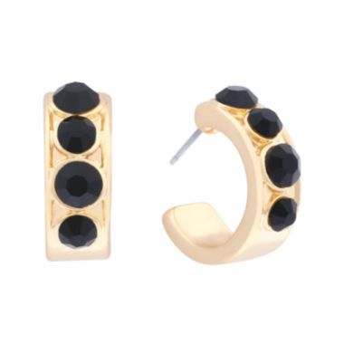 jcpenney.com | Monet® Black Stone Gold-Tone Hoop Earrings