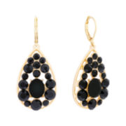 Monet® Black Stone Gold-Tone Drop Earrings