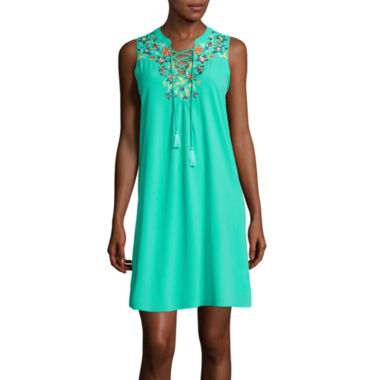 jcpenney.com | My Michelle® Sleeveless Embroidered Lace-Up A-Line Dress