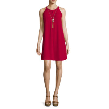 jcpenney.com | by&by Sleeveless Chiffon A-Line Dress with Necklace
