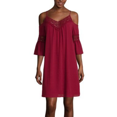 jcpenney.com | City Triangles® 3/4-Sleeve Cold-Shoulder Chiffon Dress- Juniors