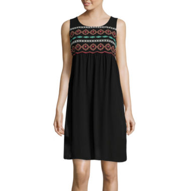 jcpenney.com | Love Reigns Sleeveless Embroidered Yoke Shift Dress
