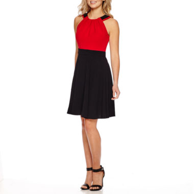 jcpenney.com | Danny & Nicole® Sleeveless Halter Colorblock Fit-and-Flare Dress