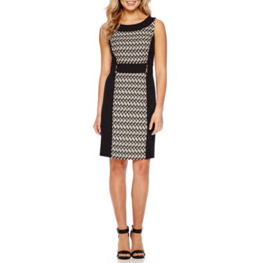 jcpenney.com | Chelsea Rose Sleeveless Abstract-Chevron-Inset Sheath Dress
