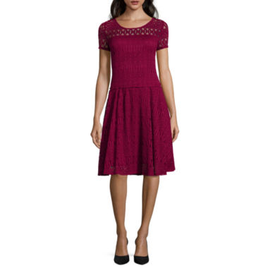 jcpenney.com | Perceptions Short-Sleeve Lace Fit-and-Flare Dress