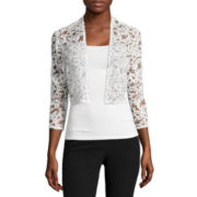 R&M Richards 3/4-Sleeve Sequin Lace Shrug Jacket - Petites