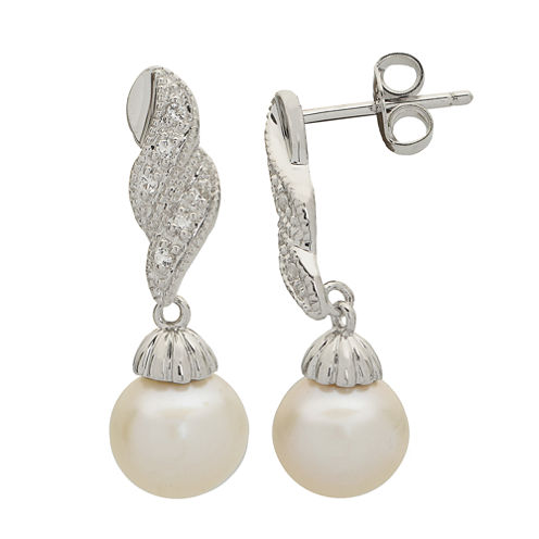8-8.5Mm Cultured Freshwater Pearl And Genuine White Topaz Sterling Silver Earrings